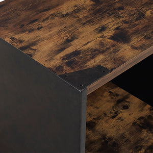 "48"" Steel Plate and Wood Coffee Table"
