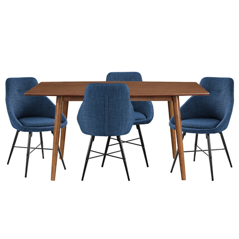 Mid Century Urban 5-Piece Dining Set - Acorn/Blue