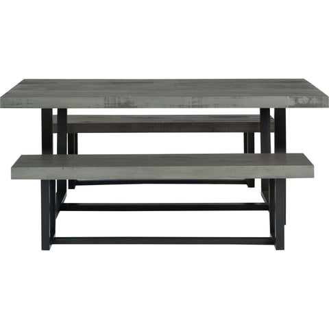 3-Piece Farmhouse Dining Set - Grey/Black