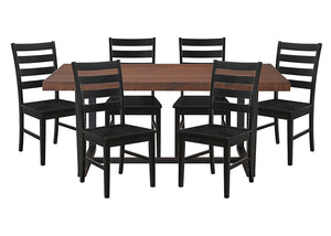 7-Piece Dining Distressed - Mahogany / Black