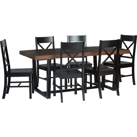 7-Piece Farmhouse Dining Set - Mahogany/Black