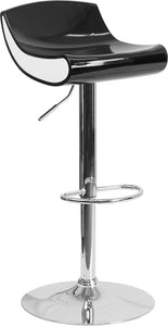 Contemporary Black and White Adjustable Height Plastic Barstool with Chrome Base - CH-101010-BK-GG