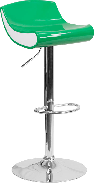 Contemporary Green and White Adjustable Height Plastic Barstool with Chrome Base - CH-101010-GN-GG