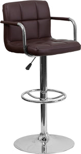 Contemporary Brown Quilted Vinyl Adjustable Height Barstool with Arms and Chrome Base - CH-102029-BRN-GG