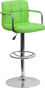 Contemporary Green Quilted Vinyl Adjustable Height Barstool with Arms and Chrome Base - CH-102029-GRN-GG