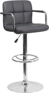 Contemporary Gray Quilted Vinyl Adjustable Height Barstool with Arms and Chrome Base - CH-102029-GY-GG
