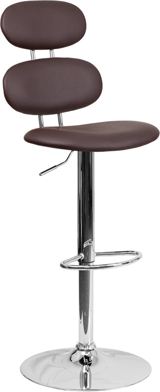 Contemporary Brown Vinyl Adjustable Height Barstool with Chrome Base - CH-112280-BRN-GG