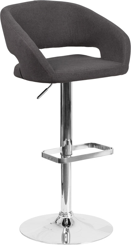 Contemporary Charcoal Fabric Adjustable Height Barstool with Chrome Base - CH-122070-BKFAB-GG