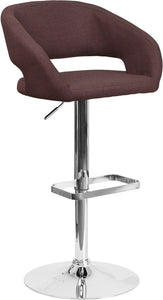 Contemporary Brown Fabric Adjustable Height Barstool with Chrome Base - CH-122070-BRNFAB-GG