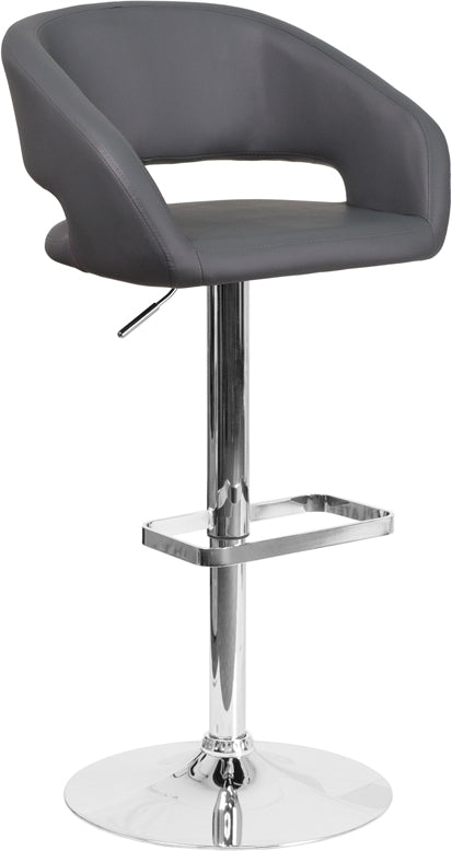 Contemporary Gray Vinyl Adjustable Height Barstool with Chrome Base - CH-122070-GY-GG