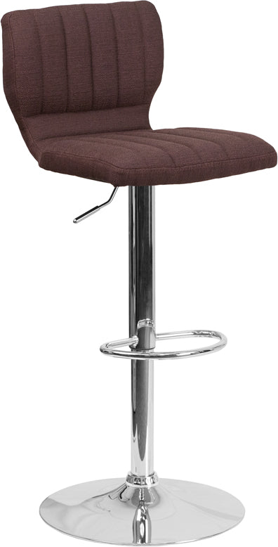 Contemporary Brown Fabric Adjustable Height Barstool with Chrome Base - CH-132330-BRNFAB-GG