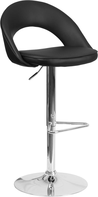 Contemporary Black Vinyl Rounded Back Adjustable Height Barstool with Chrome Base - CH-132491-BK-GG