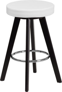Trenton Series 24'' High Contemporary Cappuccino Wood Counter Height Stool with White Vinyl Seat