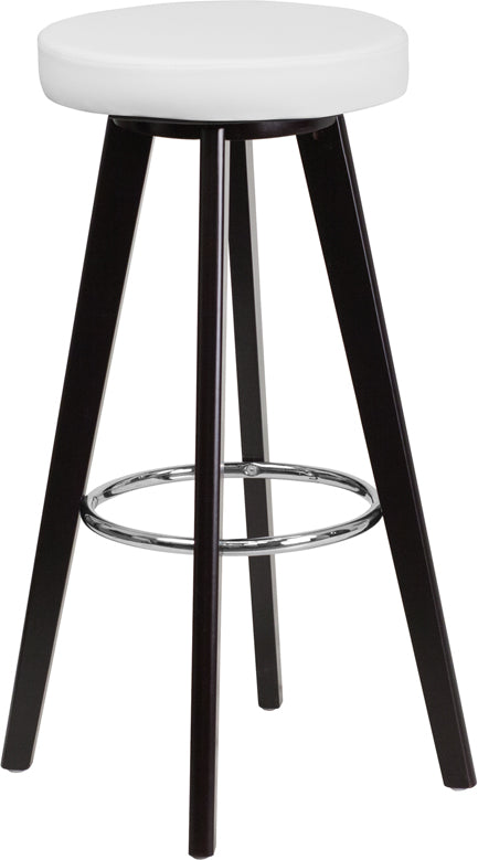 Trenton Series 29'' High Contemporary Cappuccino Wood Barstool with White Vinyl Seat - CH-152601-WH-VY-GG