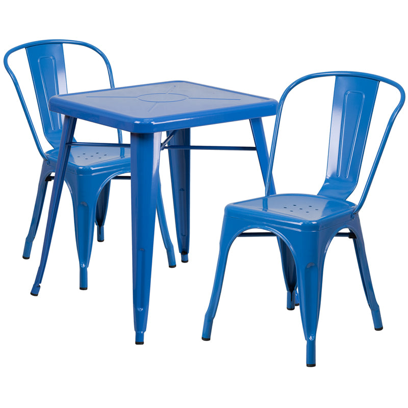 23.75'' Square Blue Metal Indoor-Outdoor Table Set with 2 Stack Chairs - CH-31330-2-30-BL-GG