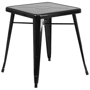 23.75'' Square Black Metal Indoor-Outdoor Table - CH-31330-29-BK-GG