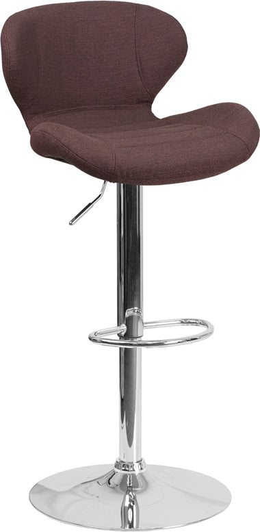 Contemporary Brown Fabric Adjustable Height Barstool with Chrome Base - CH-321-BRNFAB-GG