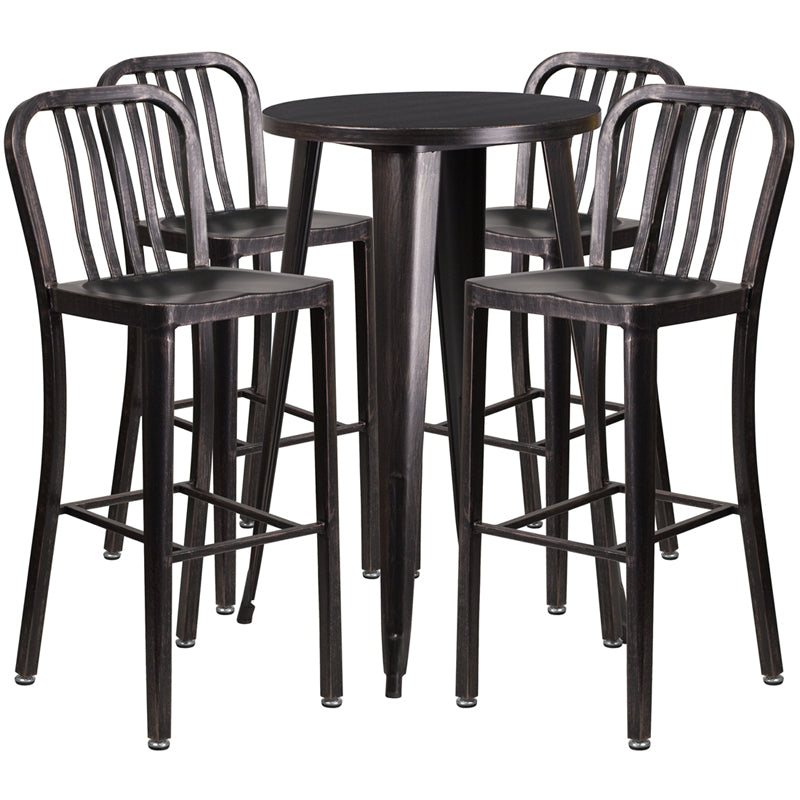 24'' Round Black-Antique Gold Metal Indoor-Outdoor Bar Table Set with 4 Vertical Slat Back Stools