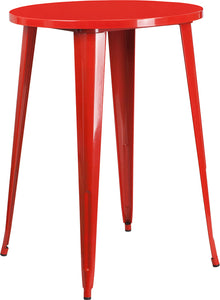 30'' Round Red Metal Indoor-Outdoor Bar Height Table