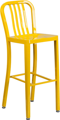 30'' High Yellow Metal Indoor-Outdoor Barstool with Vertical Slat Back - CH-61200-30-YL-GG