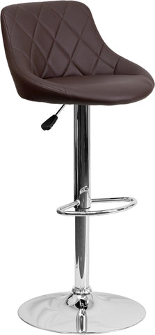 Contemporary Brown Vinyl Bucket Seat Adjustable Height Barstool with Chrome Base - CH-82028A-BRN-GG