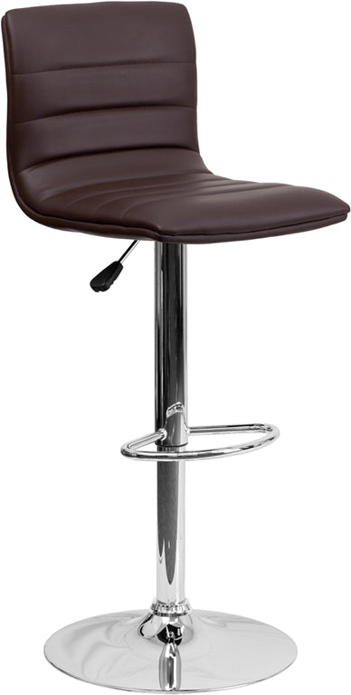 Contemporary Brown Vinyl Adjustable Height Barstool with Chrome Base - CH-92023-1-BRN-GG