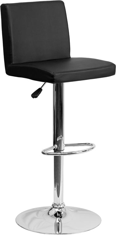 Contemporary Black Vinyl Adjustable Height Barstool with Chrome Base - CH-92066-BK-GG