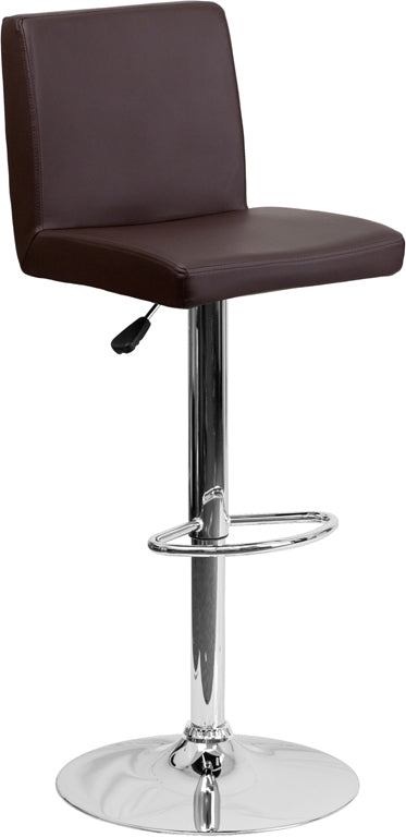Contemporary Brown Vinyl Adjustable Height Barstool with Chrome Base - CH-92066-BRN-GG