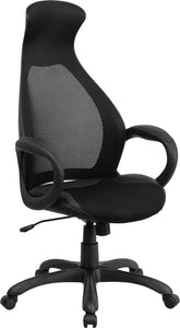 Flash Furniture CH-CX0528H01-BK-LEA-GG High Back Black Mesh Executive Swivel Office Chair with Leather Seat Insert
