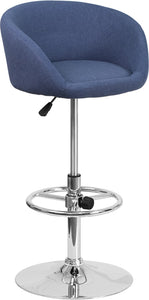 Contemporary Blue Fabric Adjustable Height Barstool with Chrome Base - CH-TC3-1066L-BLFAB-GG