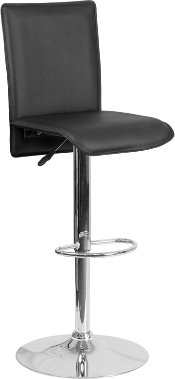 Contemporary Black Vinyl Adjustable Height Barstool with Chrome Base - CH-TC3-1206-BK-GG