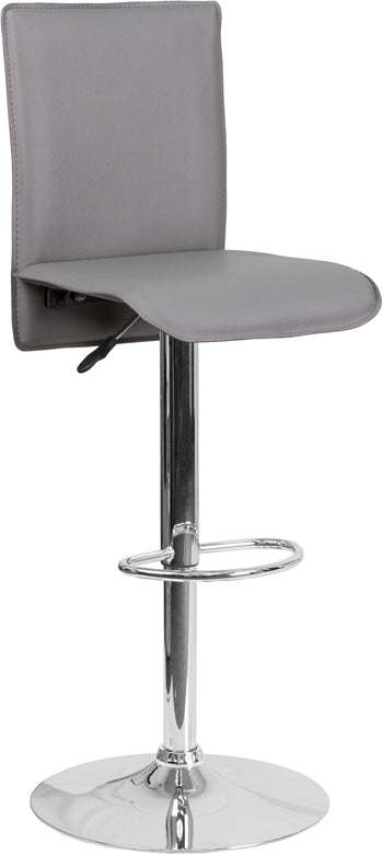 Contemporary Gray Vinyl Adjustable Height Barstool with Chrome Base - CH-TC3-1206-GY-GG