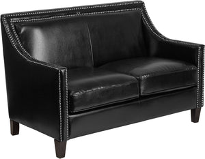 Compass Series Transitional Black Leather Loveseat with Walnut Legs