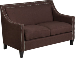 Compass Series Transitional Brown Fabric Loveseat with Walnut Legs