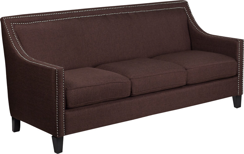 Compass Series Transitional Brown Fabric Sofa with Walnut Legs