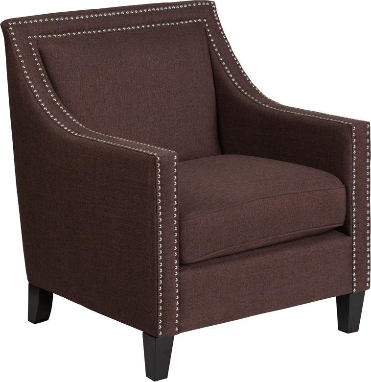 Compass Series Transitional Brown Fabric Chair with Walnut Legs