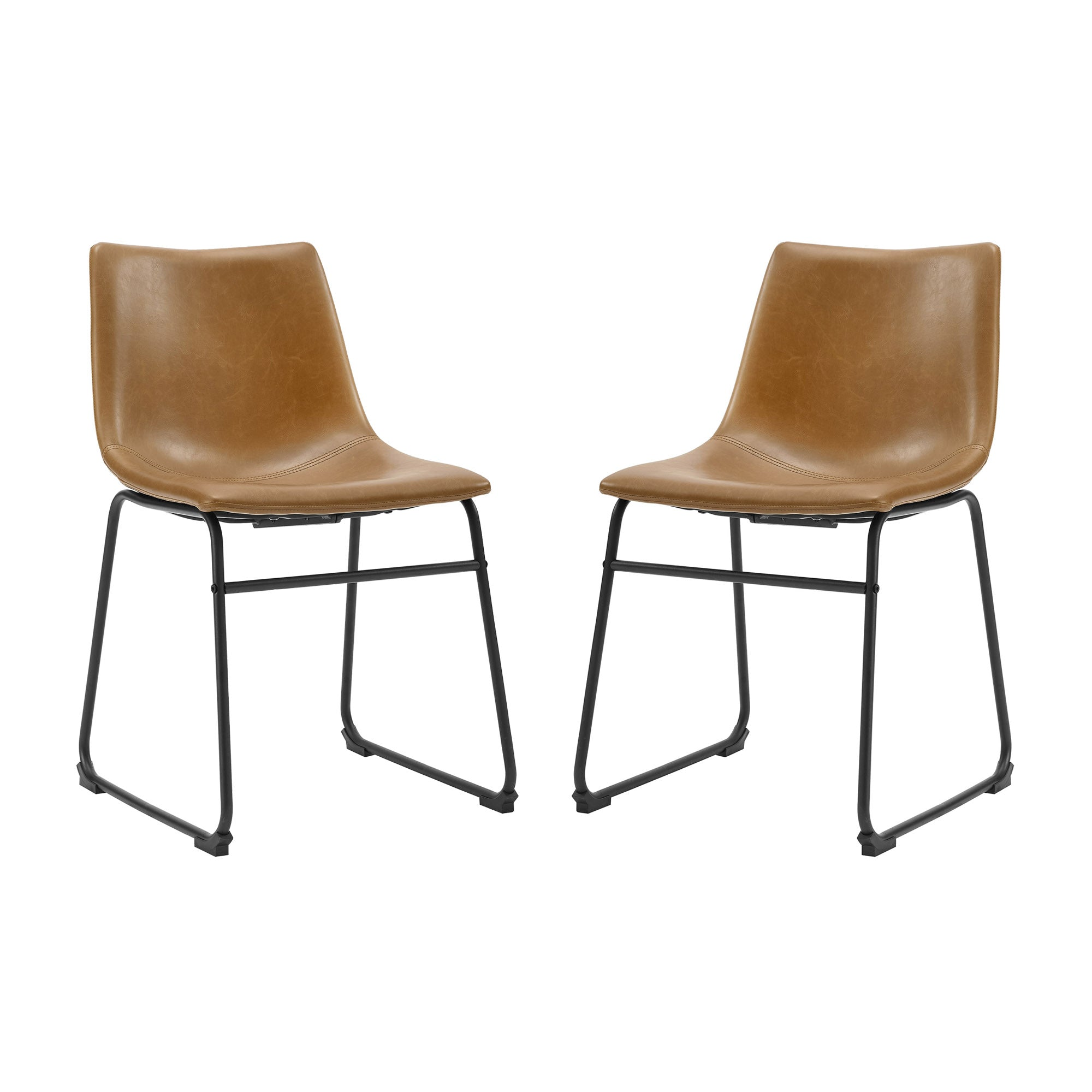 "18"" Faux Leather Dining Chair 2 pack - Whiskey Brown"