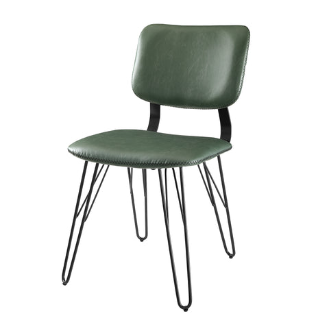 Flax Back Accent Dining Chair with Black Stitching, 2 Pack - Green