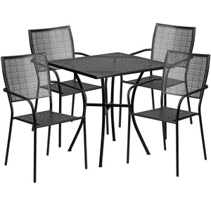 28'' Square Black Indoor-Outdoor Steel Patio Table Set with 4 Square Back Chairs