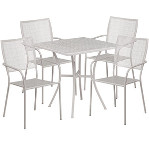 28'' Square Light Gray Indoor-Outdoor Steel Patio Table Set with 4 Square Back Chairs - CO-28SQ-02CHR4-SIL-GG
