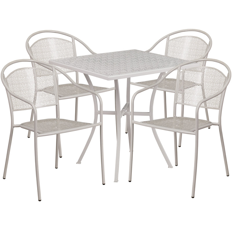 28'' Square Light Gray Indoor-Outdoor Steel Patio Table Set with 4 Round Back Chairs