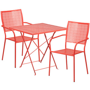 28'' Square Coral Indoor-Outdoor Steel Folding Patio Table Set with 2 Square Back Chairs