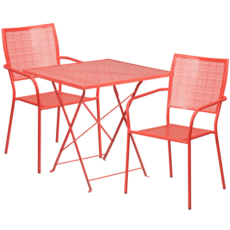 28'' Square Coral Indoor-Outdoor Steel Folding Patio Table Set with 2 Square Back Chairs - CO-28SQF-02CHR2-RED-GG