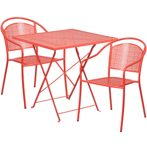 28'' Square Coral Indoor-Outdoor Steel Folding Patio Table Set with 2 Round Back Chairs - CO-28SQF-03CHR2-RED-GG
