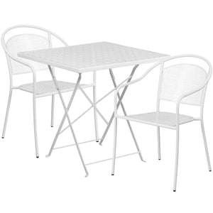 28'' Square White Indoor-Outdoor Steel Folding Patio Table Set with 2 Round Back Chairs - CO-28SQF-03CHR2-WH-GG