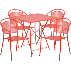 28'' Square Coral Indoor-Outdoor Steel Folding Patio Table Set with 4 Round Back Chairs - CO-28SQF-03CHR4-RED-GG