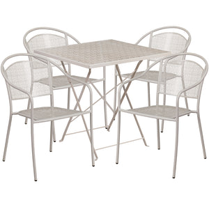 28'' Square Light Gray Indoor-Outdoor Steel Folding Patio Table Set with 4 Round Back Chairs - CO-28SQF-03CHR4-SIL-GG