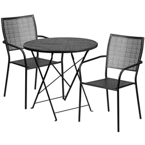 30'' Round Black Indoor-Outdoor Steel Folding Patio Table Set with 2 Square Back Chairs