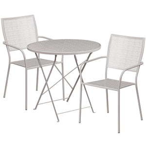 30'' Round Light Gray Indoor-Outdoor Steel Folding Patio Table Set with 2 Square Back Chairs - CO-30RDF-02CHR2-SIL-GG