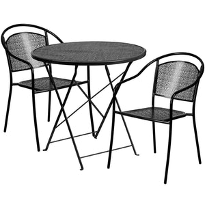 30'' Round Black Indoor-Outdoor Steel Folding Patio Table Set with 2 Round Back Chairs